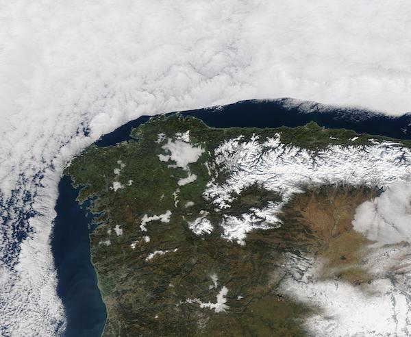 Clouds Curve Around Spain and Portugal