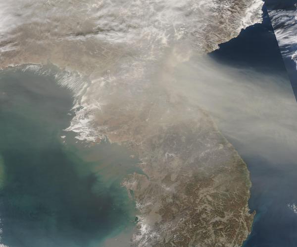 Aerosols (Smoke? Dust?) off Korean Peninsula