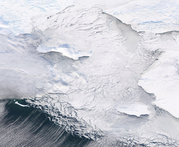 Sea Ice Moving through the Bering Sea