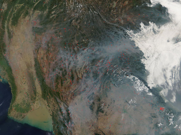 Fires on Mainland Southeast Asia