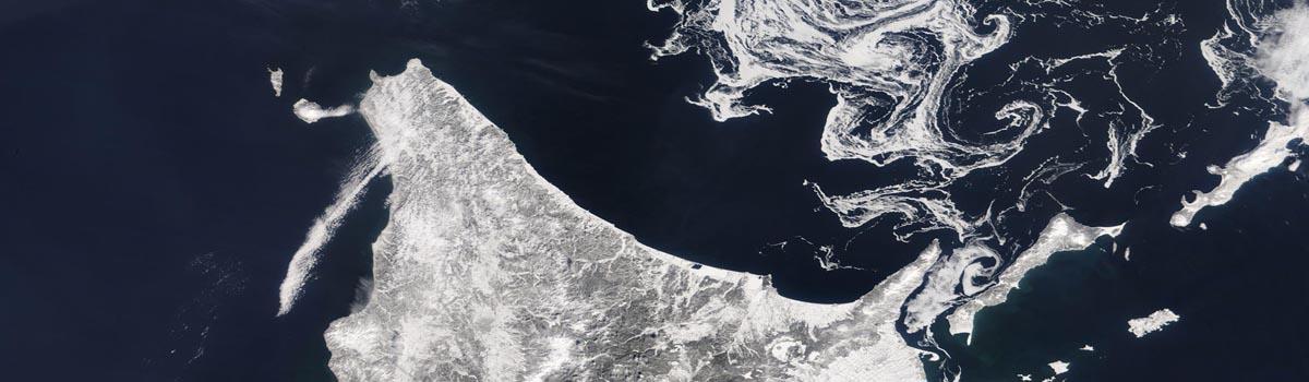 Sea ice swirls in the Sea of Okhotsk