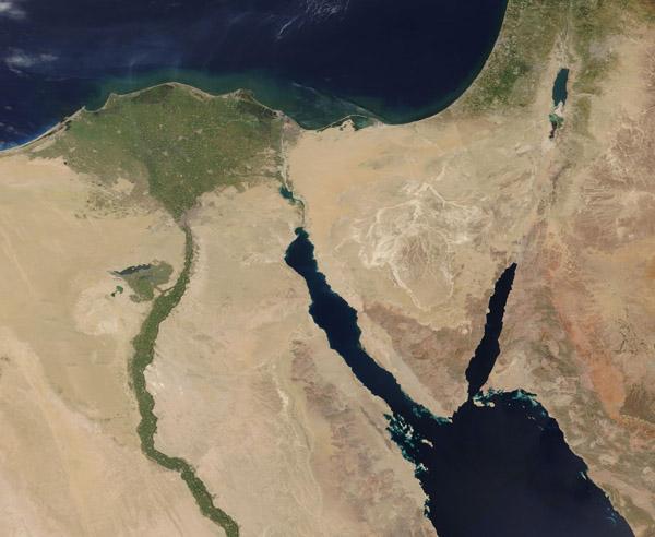 Nile River Delta and the Persian Gulf