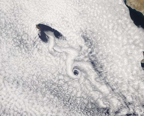 Van Karman Vortices off Guadalupe Island