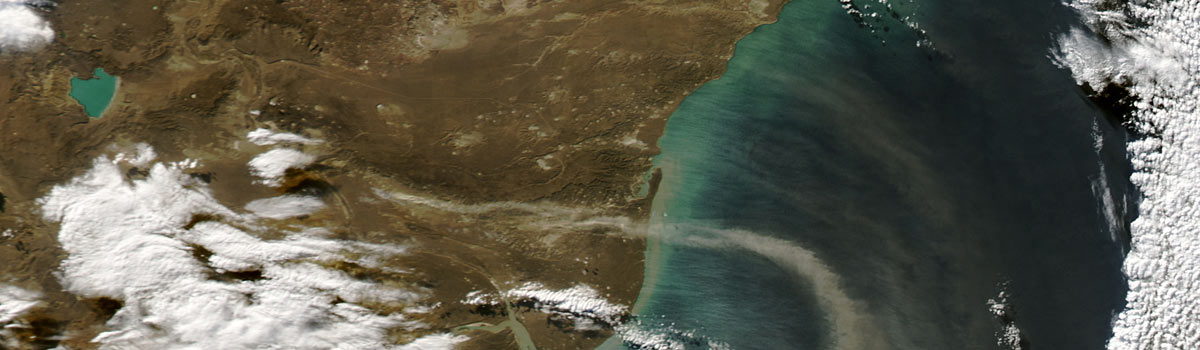 Dust storms off southern Argentina