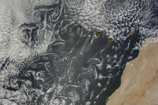 Cloud vortices off Canary Islands