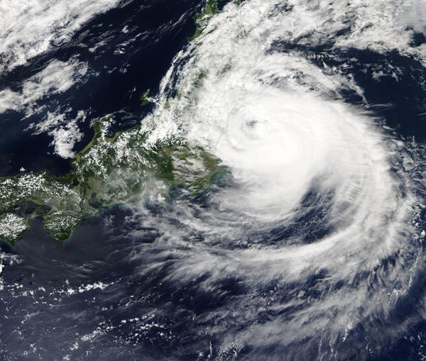 Typhoon Faxai off Japan