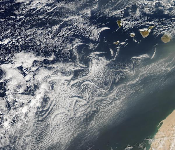 Cloud Vortices and Dust off Canary Islands