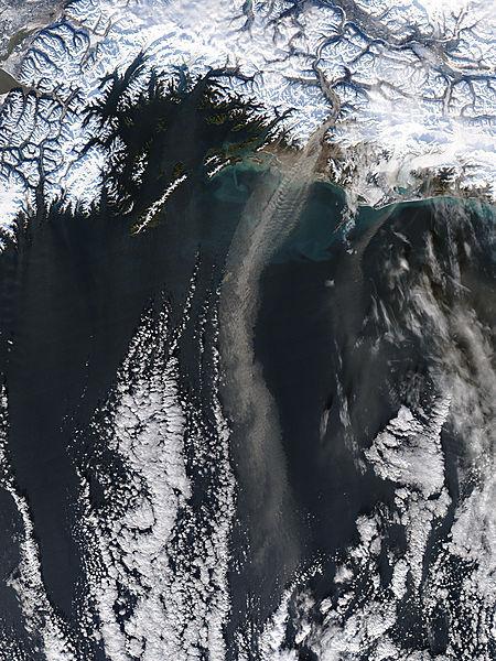 Dust storm off southern Alaska